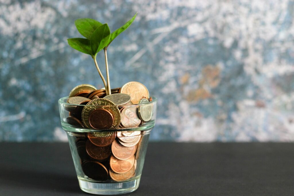 coins in jar with plant growing